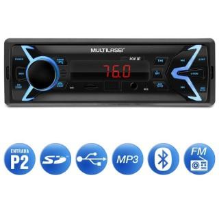 Auto Rádio Multilaser Pop BT P3336 1 Din Bluetooth LED USB SD AUX P2 FM