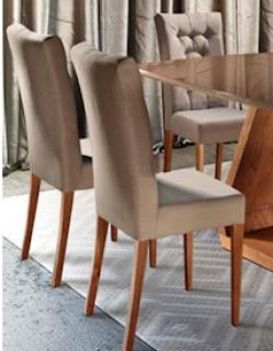 Cadeira KR Imbuia/Mel Tecido Animale Capuccino