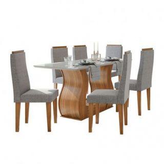 Conjunto Sala de Jantar Lopas Dafne Tampo de Madeira com Vidro 160 Rovere Naturale 6 Cadeiras