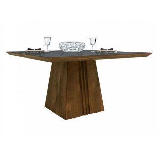 Conjunto Sala de Jantar Mesa DJ Móveis Itália Tampo de Madeira Chanfrado com Vidro 140x140 cm com 6 Cadeiras