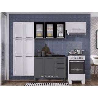 Cozinha Compacta Itatiaia Luce com 3 Vidros Branco/Preto