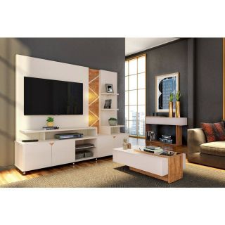 Estante Lukaliam Home Theater Cross Off White/Amêndoa