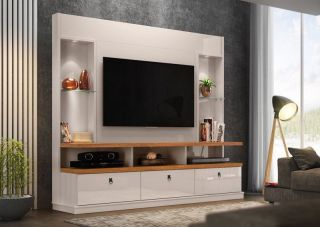 Estante Lukaliam Home Theater Dinamarca Off White/Amêndoa