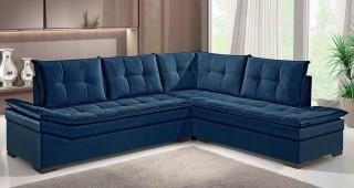 Estofado Rondomóveis de Canto Ref 1090 - Azul Petróleo