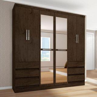 Guarda-Roupa Araplac Ref 4177 6 Portas Imbuia Com Espelho
