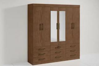 Guarda-Roupa D'Doro Móveis Onix 6 Portas com Espelho Ypê