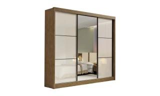 Guarda-Roupa D'Doro New Dallas 3 Portas Com Espelho Ypê/Off White