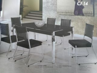 Conjunto Sala de Jantar Aço Nobre Facinare Formato Cromada 160x90 Vidro Serigrafado Preto com 6 Cadeiras
