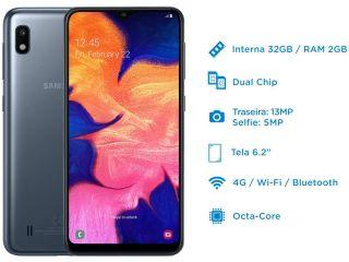 """Smartphone Samsung Galaxy A10 32GB 4G 2GB RAM Tela 6,2"""""""