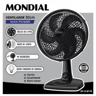 Ventilador de Mesa Mondial Maxi Power NV15B 30cm 6 Pás 3 Velocidades