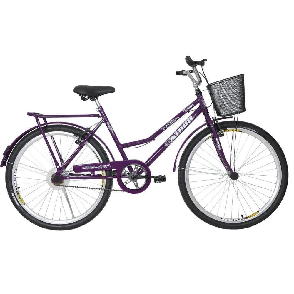 Bicicleta Athor Venus Aro 26 V-Brake Com Cesto Violeta