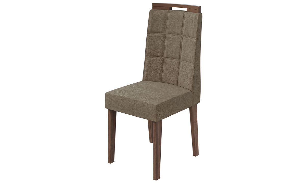 Cadeira Nevada Suede Animale Bege  - Imbuia Naturale