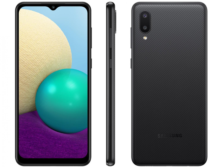 Celular/Smartphone Samsung Galaxy A02 32GB Preto 4G - Quad-Core 2GB RAM 6,5? Câm. Dupla + Selfie 5MP