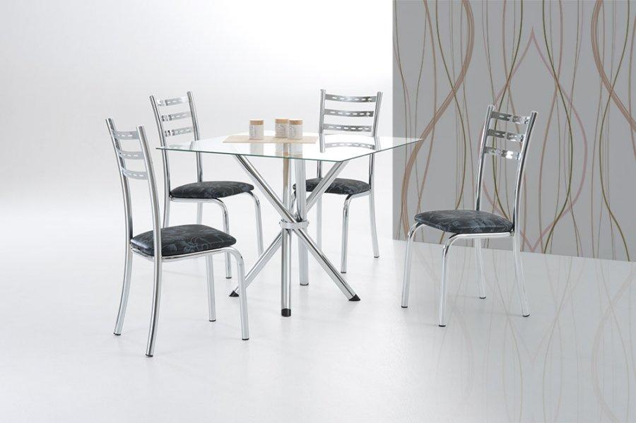 Conjunto Mesa Muller Atenas com 4 Cadeiras Cromadas