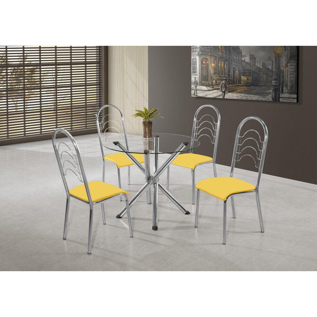 Conjunto Mesa Pietra Cromada com 4 Cadeiras Pequim Cromadas com Assento Preto