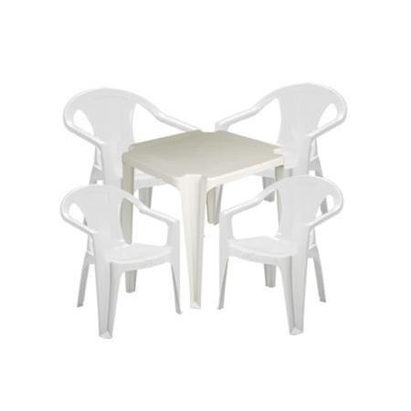 Conjunto Mesa Plástica Pnaples com 4 Cadeiras