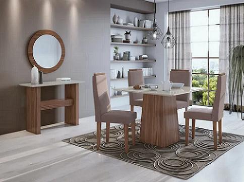 Conjunto Sala de Jantar Mesa Nevada Plus 100 Tampo de Vidro com 4 Cadeiras Nevada