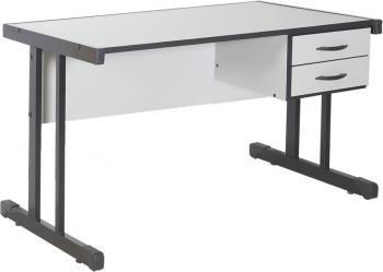 Mesa Metalmontes Escritório com 2 gavetas 120x060 Cinza