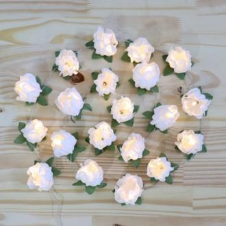 Cordão de Luz Flor branco - 20 LED - A pilha
