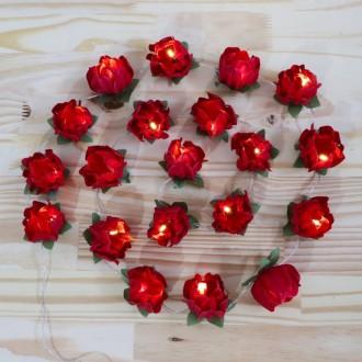 Cordão de Luz Flor vermelha - 20 LED - A pilha