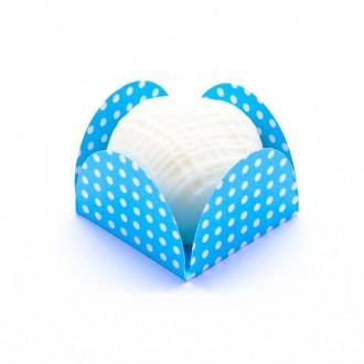 Forminha Caixeta - Azul com poá branco - 50 unidades