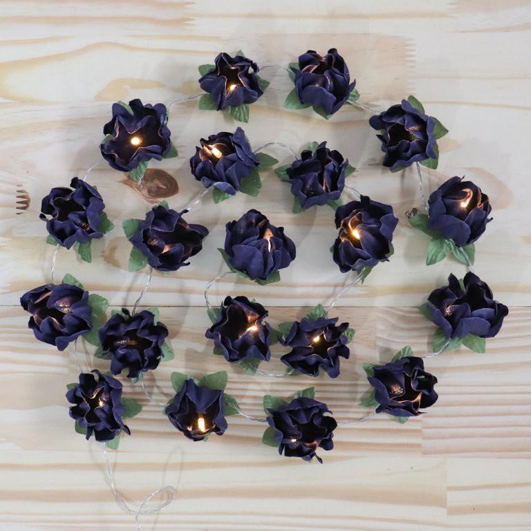 Cordão de Luz Flor azul marinho - 20 LED - A pilha