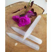 Bastão massageador Selenita Branca - Unidade - 15,5 cm