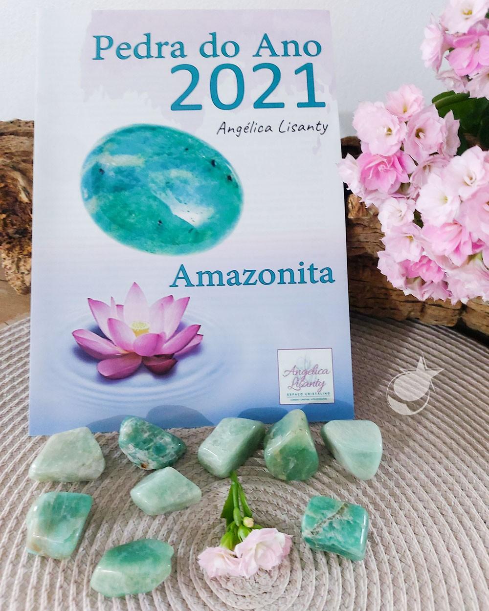 AMAZONITA ROLADA +  FOLHETO PEDRA DO ANO - UNIDADE - 2 a 3 cm - (10 A 15g) - PEDRA DO ANO 2021