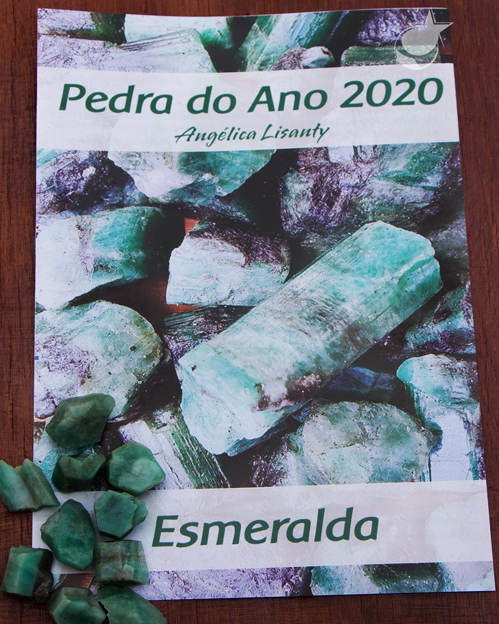 FOLHETO PEDRA DO ANO COM  ESMERALDA  BRUTA - UNIDADE - Média de  1,5 A 2 cm