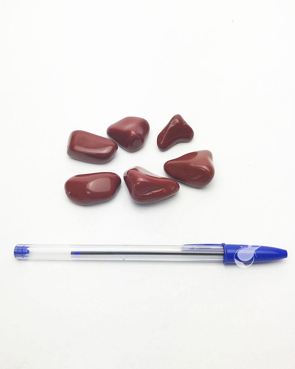 JASPE VERMELHO ROLADO - Pacote com 3 pedras - Total 45  a 50g