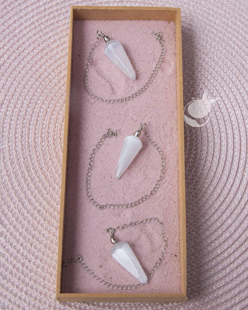 Pendulo Selenita Branca - Unidade - 3,5 a 4 cm