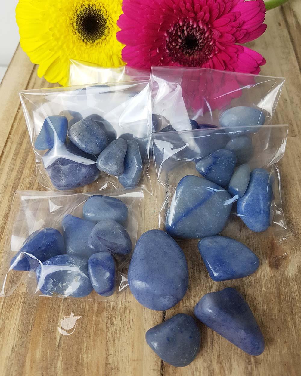 QUARTZO AZUL ROLADO - PACOTE 50g (4 a 5 pedras)