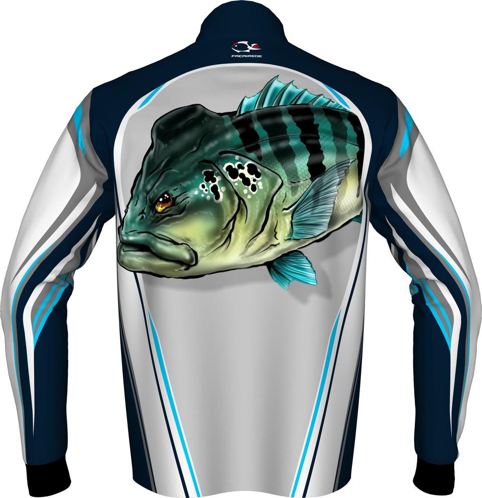 Camiseta De Pesca Faca na Rede Evo Tucunaré Azul  - Pesca Adventure