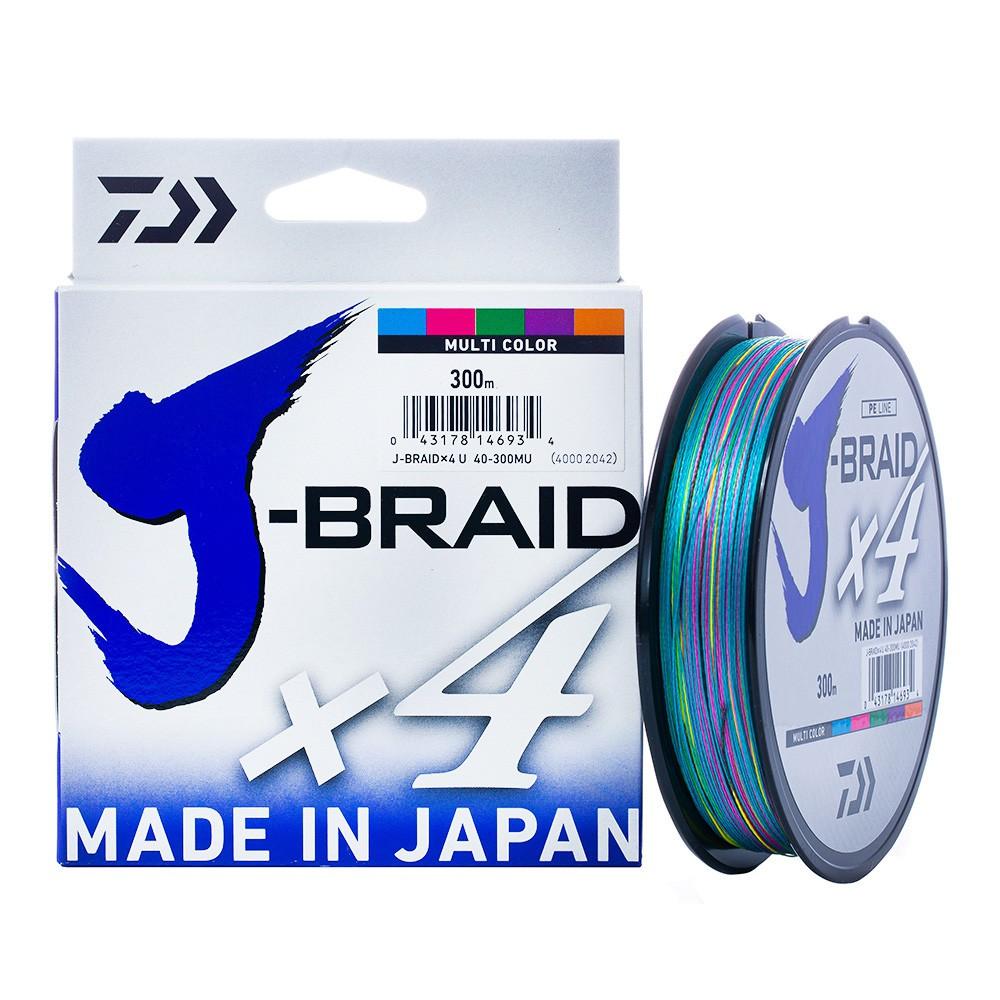 Linha Daiwa J-Braid x4 0.29mm 40lb 300m - Multicolor   - Pesca Adventure