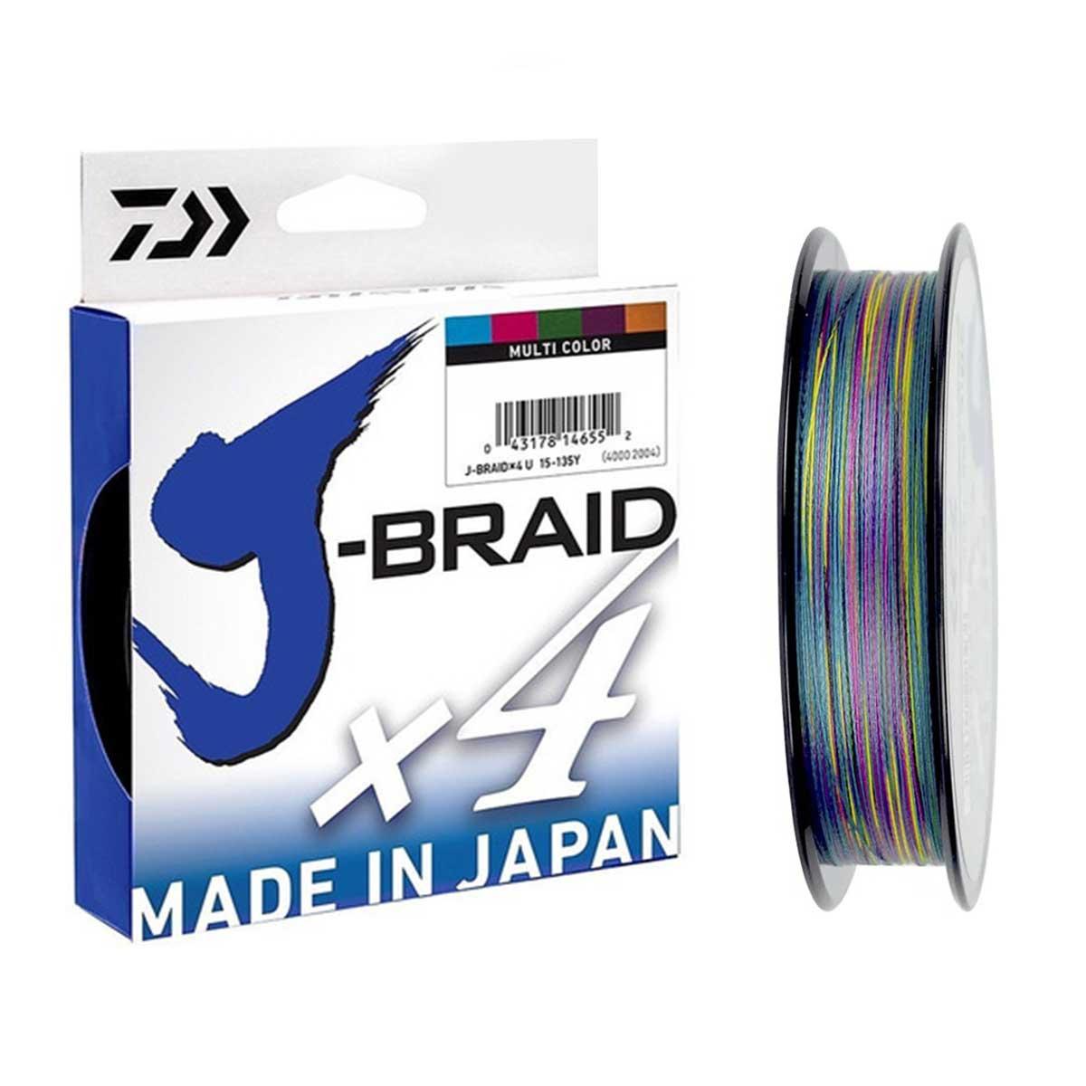Linha Daiwa J-Braid x4 0.36mm 65lb 300m - Multicolor   - Pesca Adventure