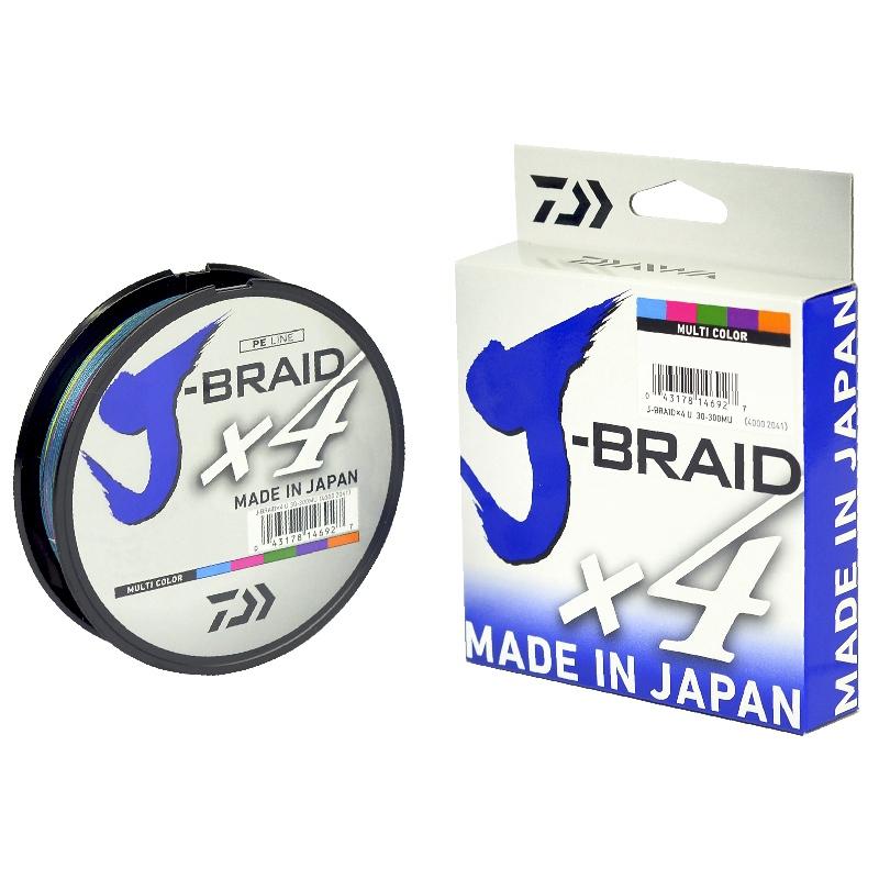 Linha Daiwa J-Braid x4 0.42mm 80lb 300m - Multicolor   - Pesca Adventure