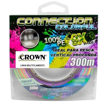 Linha Multifilamento 9x Crown Connection Colorful 0.26mm 40lb 300m - Multicolor   - Pesca Adventure
