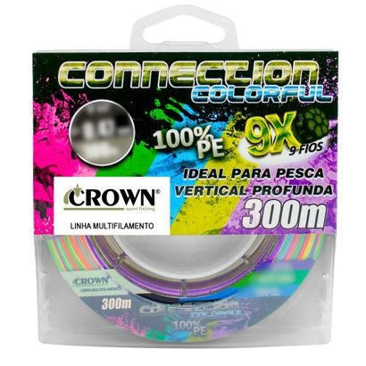 Linha Multifilamento 9x Crown Connection Colorful 0.31mm 60lb 300m - Multicolor   - Pesca Adventure
