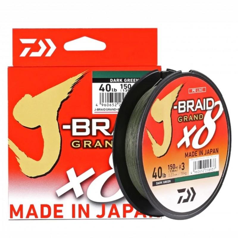 Linha Multifilamento Daiwa J-Braid Grand x8 270m 0,32mm 40lb