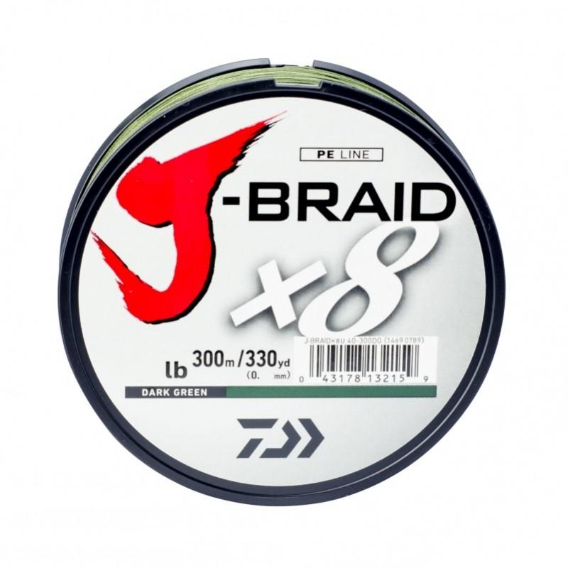 Linha Multifilamento Daiwa J-Braid x8 300m 0,41mm 65lb