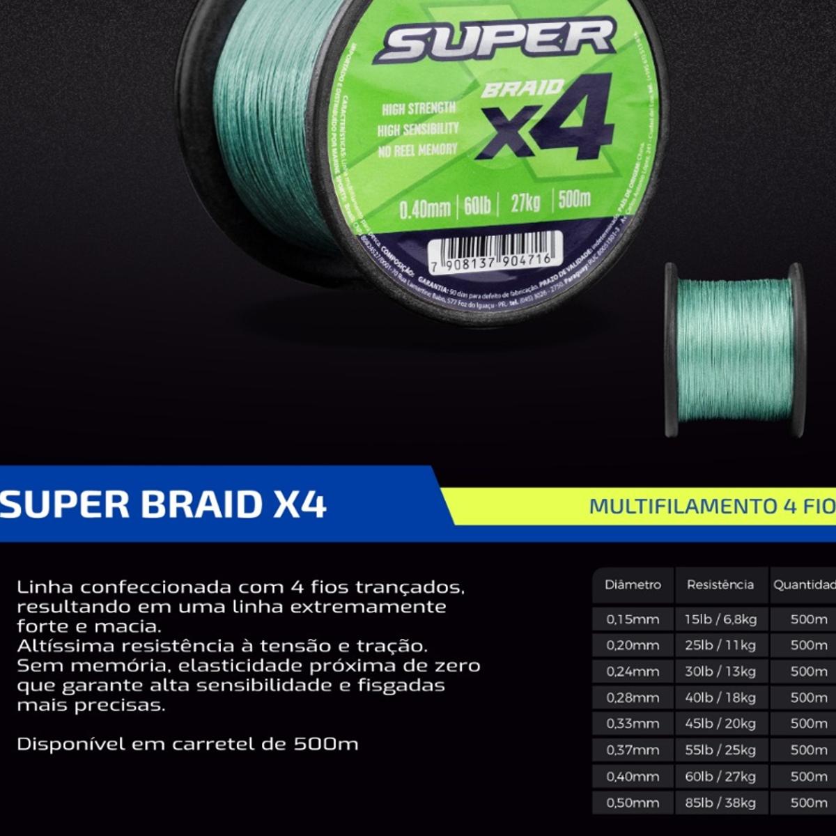 Linha Multifilamento Marine Super Braid x4 25lb 0.20mm 500m  - Pesca Adventure