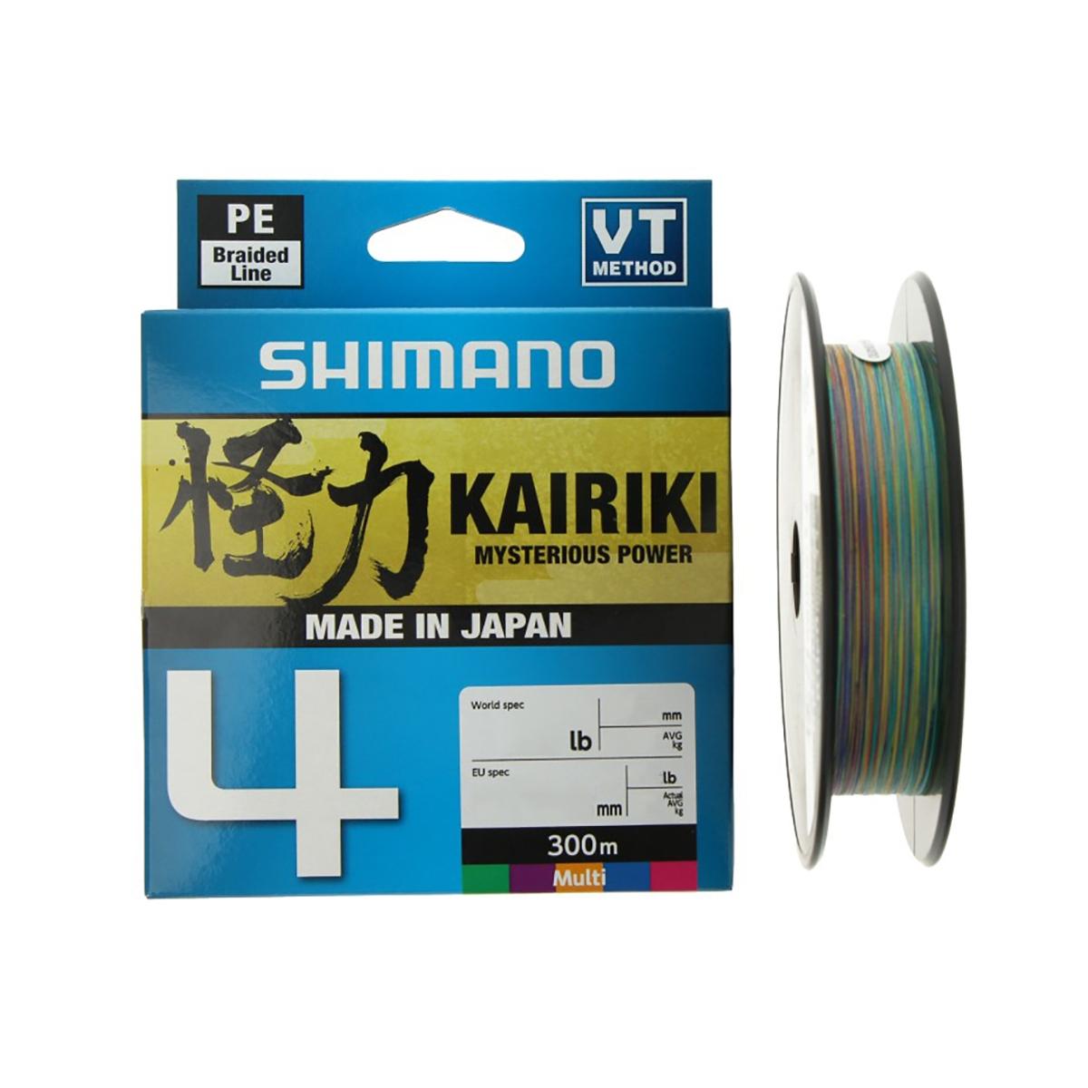 Linha Multifilamento Shimano Kairiki 4 - 25lb 0.21mm 300m Multicolor