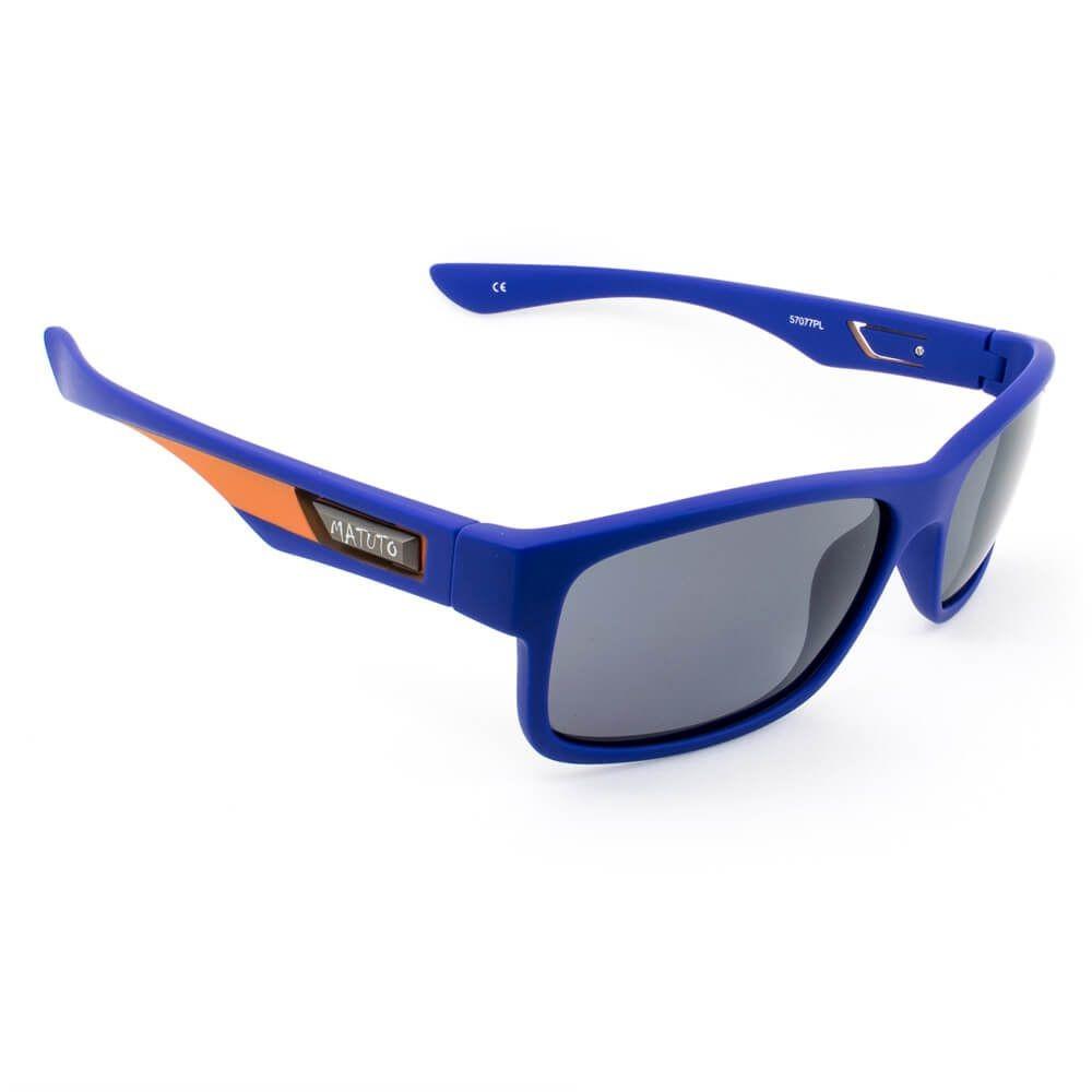 Óculos de Sol Polarizado Matuto Modelos 57077 Azul c/ Laranja  - Pesca Adventure