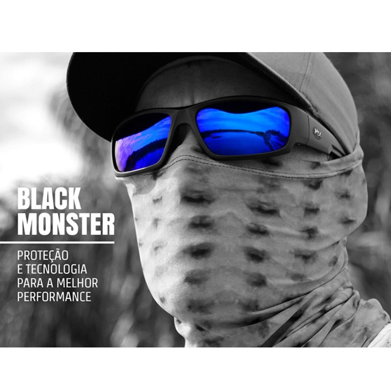 Óculos de Sol Polarizado Monster 3x Black Monster Azul  - Pesca Adventure