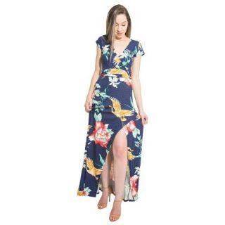 Vestido Merry Cloud Longo Floral Azul Com Fenda