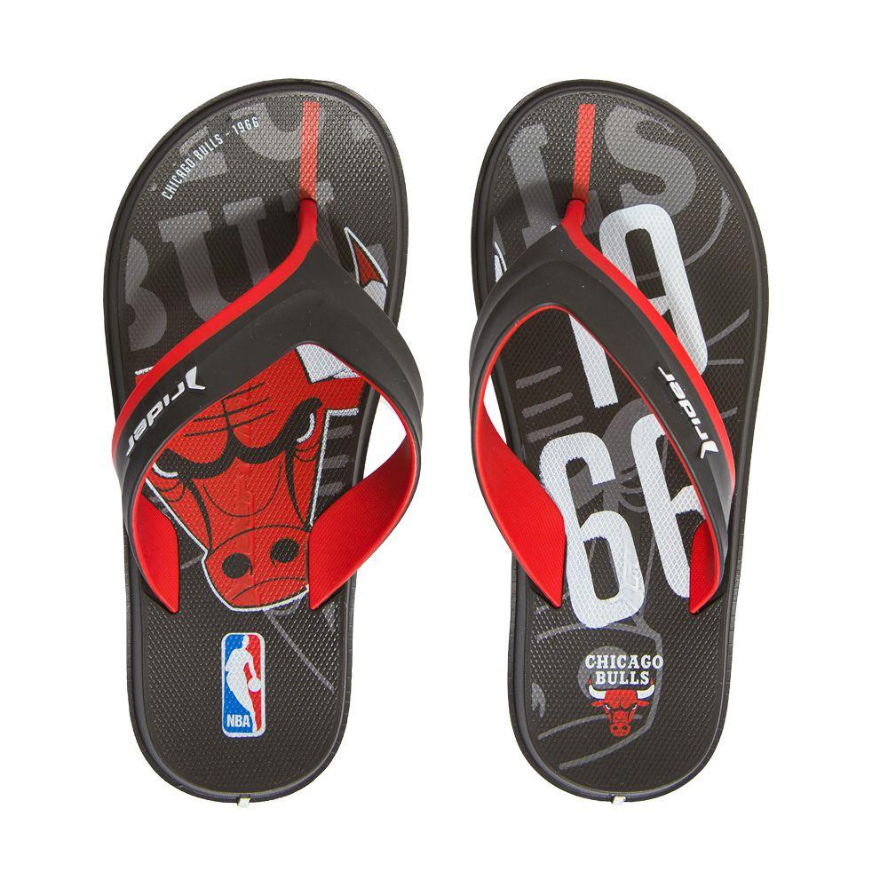 Chinelo Rider R Line NBA Preto e Vermelho