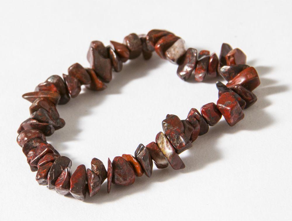 Pulseira Cascalho Pedra Cristal Natural Jaspe Vermelho