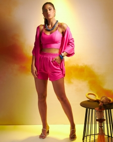 Blusa Cropped Top Linho Pink
