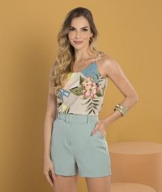 Blusa Regata Folha Detalhe Alça Plus Size