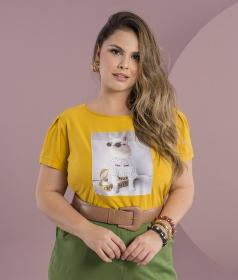 Blusa T-Shirt  Gatinha com Óculos Amarelo Ocre